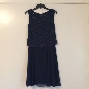 Navy Blue Sequined Topped Party Dress